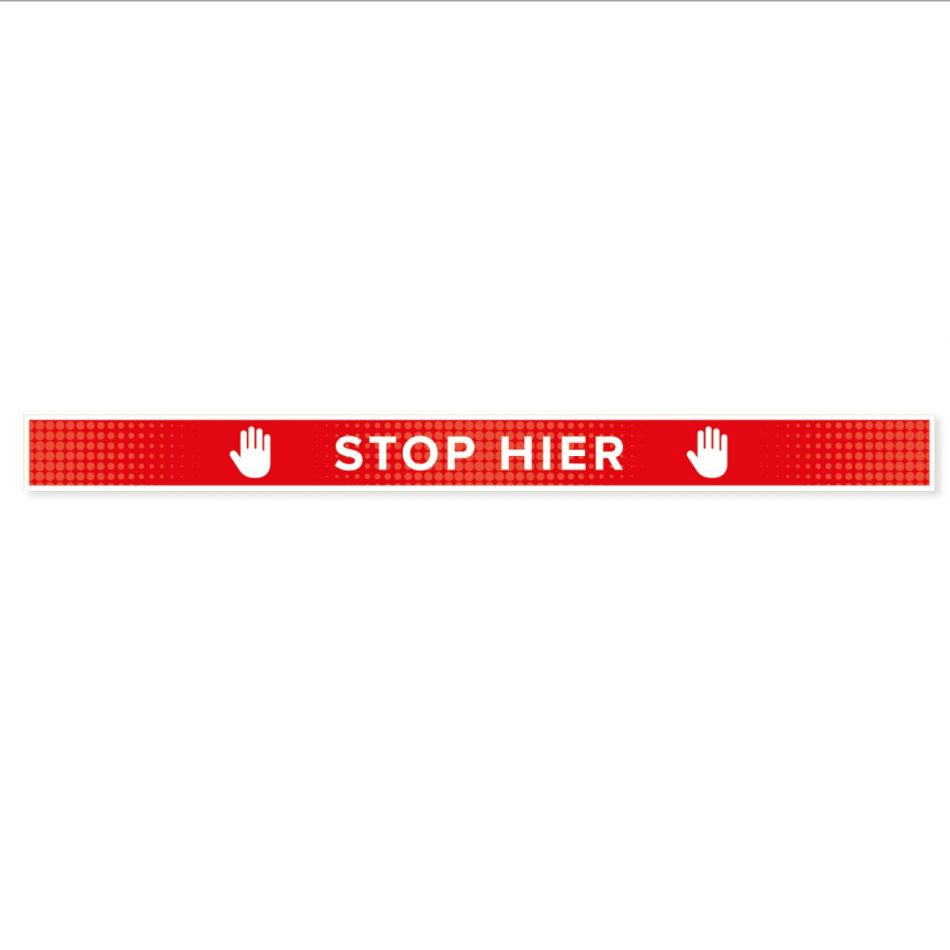 Vloersticker Stop Hier 7,5 x 90 cm