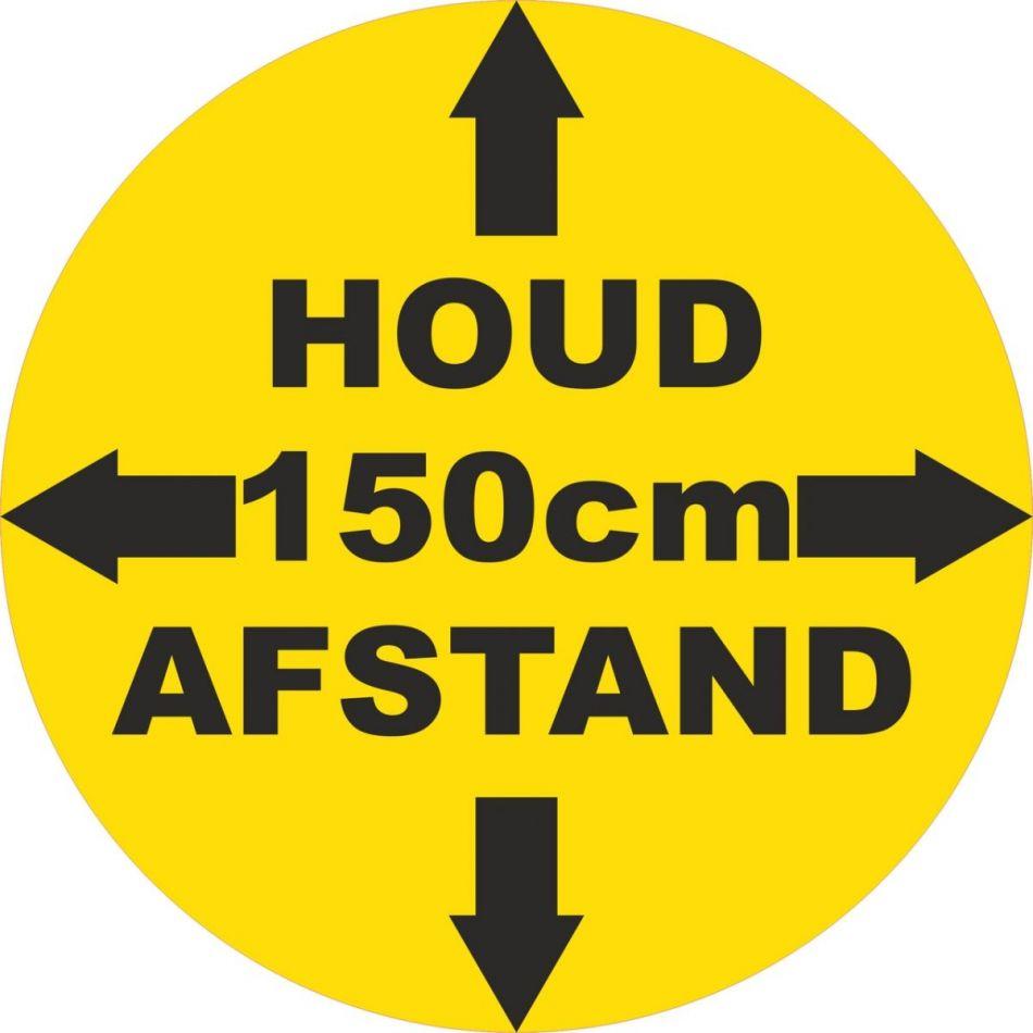Vloersticker Houd 150 cm afstand rond 30 cm