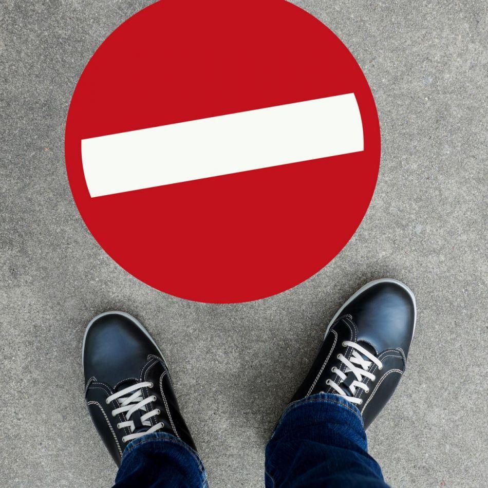 Vloersticker verbod rood rond 30 cm