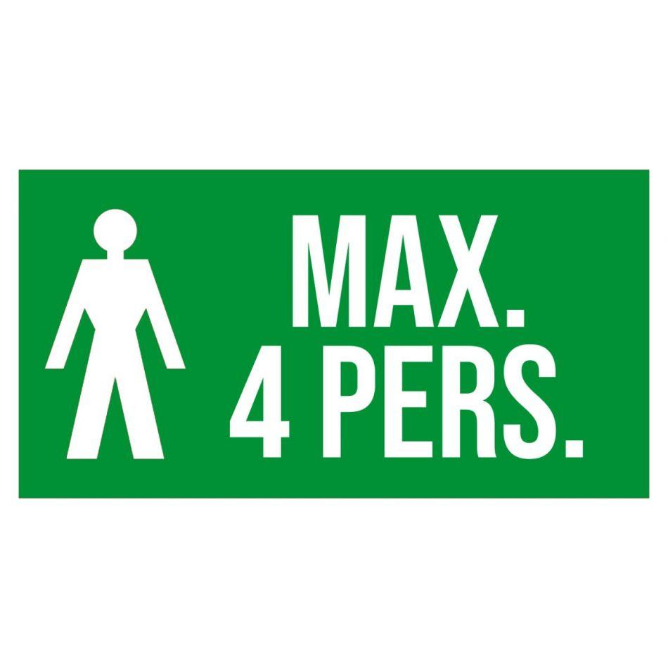 Sticker maximaal 4 personen