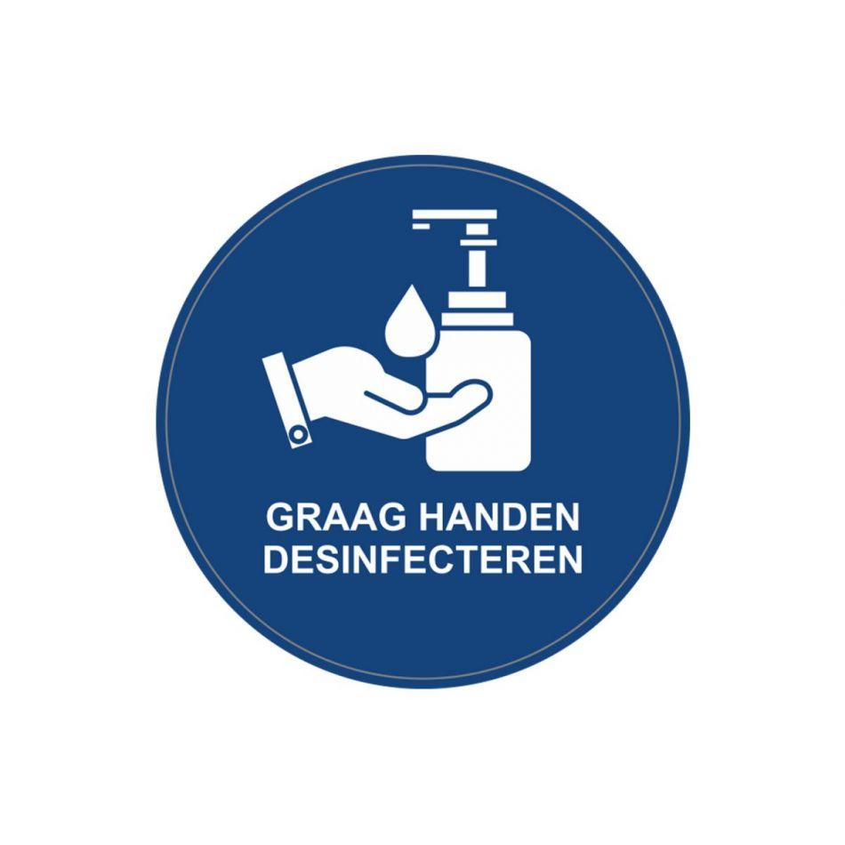 Sticker Handen desinfecteren blauw 10 cm