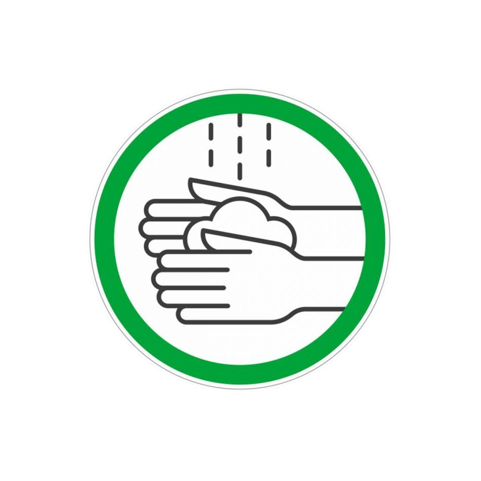 Sticker Handen wassen wit/groen 10 cm