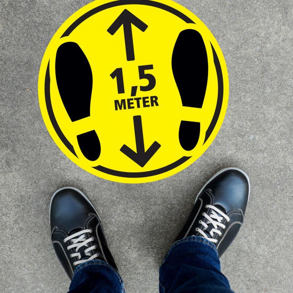 Vloersticker voeten geel/zwart rond 30 cm
